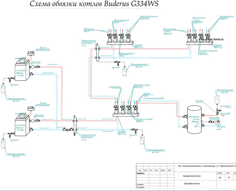 Схема по обвязки котла будерус g234