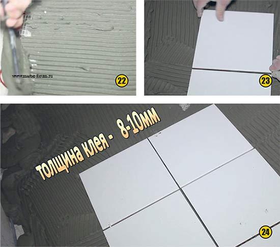 Нанесение плиточного клея поверх кабеля