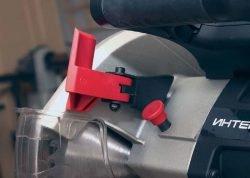 Интерскол ПРР 250 2000 пила торцовочная с протяжкой торцовочно усовочная протяжка блокировка кожух фиксатор шпиндель рычаг кнопка