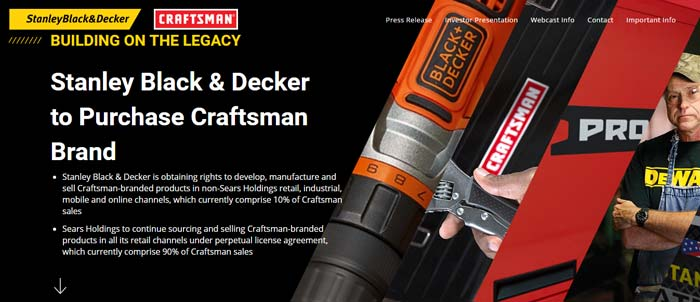 StanleyBlack&Decker Craftsman Sears покупает приобретает бренд Holdings Stanley Black Decker