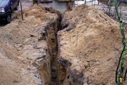 траншея монтаж системы водоснбжения