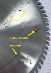 Пильный диск прорези фигурные вставки медные вальцовка