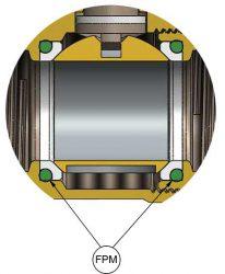 онструкция сёдел шара сустановленными амортизирующими кольцами изфторкаучука