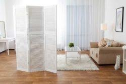 Перегородка ширма деревянные реечные дверцы гипсокартон ГКЛ домашний офис